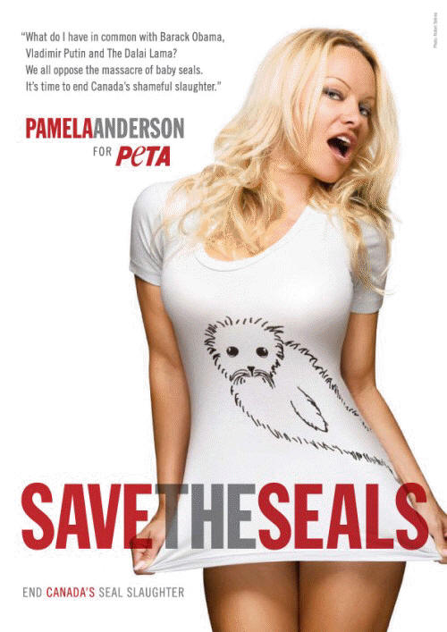 Pamela Anderson for PETA's Save the Seals Campaign