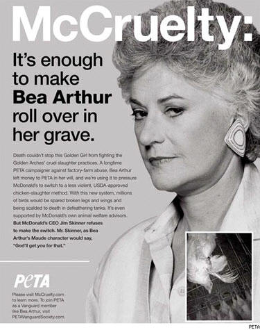 Bea Arthur Still Helping PETA Fight McDonald's Cruelty
